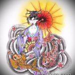 эскиз тату гейша №631 - прикольный вариант рисунка, который удачно можно использовать для переделки и нанесения как тату гейша на спине