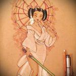эскиз тату гейша №177 - классный вариант рисунка, который легко можно использовать для переработки и нанесения как тату гейша и сакура