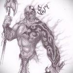 эскиз тату гладиатор №74 - классный вариант рисунка, который хорошо можно использовать для переработки и нанесения как тату гладиатора на икре