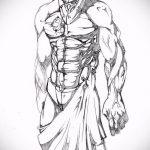 эскиз тату гладиатор №70 - крутой вариант рисунка, который удачно можно использовать для переделки и нанесения как тату гладиатор и лев