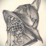эскиз тату гладиатор №530 - интересный вариант рисунка, который легко можно использовать для доработки и нанесения как тату гладиатор максимус
