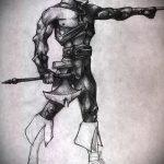эскиз тату гладиатор №317 - крутой вариант рисунка, который удачно можно использовать для преобразования и нанесения как тату гладиатор рукав