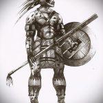 эскиз тату гладиатор №805 - достойный вариант рисунка, который успешно можно использовать для преобразования и нанесения как тату гладиатор с крыльями