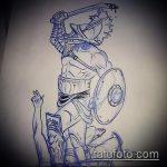 эскиз тату гладиатор №710 - достойный вариант рисунка, который легко можно использовать для преобразования и нанесения как тату с римлянами и гладиаторы