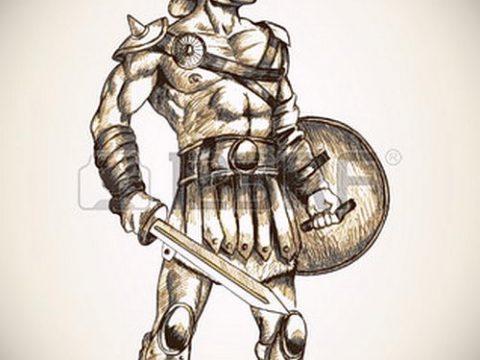эскиз тату гладиатор №399 - классный вариант рисунка, который успешно можно использовать для преобразования и нанесения как тату гладиатор с цепью