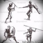 эскиз тату гладиатор №727 - уникальный вариант рисунка, который удачно можно использовать для преобразования и нанесения как тату гладиатор доспехи на ноге