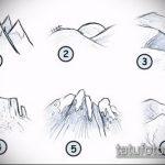 эскиз тату горы №995 - интересный вариант рисунка, который хорошо можно использовать для преобразования и нанесения как тату гора цветная