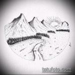 эскиз тату горы №705 - крутой вариант рисунка, который хорошо можно использовать для доработки и нанесения как тату природа горы