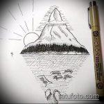 эскиз тату горы №654 - крутой вариант рисунка, который легко можно использовать для преобразования и нанесения как тату горы на спине
