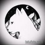 эскиз тату горы №903 - прикольный вариант рисунка, который хорошо можно использовать для переработки и нанесения как тату горы и луна
