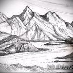 эскиз тату горы №446 - прикольный вариант рисунка, который легко можно использовать для переработки и нанесения как тату лес и горы