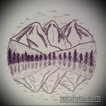 эскиз тату горы №189 - интересный вариант рисунка, который удачно можно использовать для преобразования и нанесения как тату горы и звезды