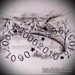 эскиз тату горы №781 - достойный вариант рисунка, который удачно можно использовать для доработки и нанесения как тату горы пейзаж