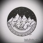 эскиз тату горы №959 - интересный вариант рисунка, который хорошо можно использовать для преобразования и нанесения как тату горы маленькие