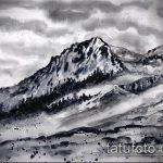 эскиз тату горы №512 - эксклюзивный вариант рисунка, который успешно можно использовать для переработки и нанесения как тату горы в кругу
