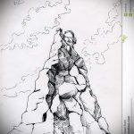 эскиз тату горы №284 - эксклюзивный вариант рисунка, который удачно можно использовать для преобразования и нанесения как тату горы и волк