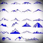 эскиз тату горы №860 - крутой вариант рисунка, который хорошо можно использовать для доработки и нанесения как тату горы вертолет