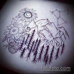 эскиз тату горы №262 - достойный вариант рисунка, который удачно можно использовать для переделки и нанесения как тату горы река