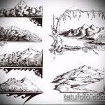 эскиз тату горы №364 - достойный вариант рисунка, который легко можно использовать для доработки и нанесения как тату горы на плече