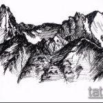 эскиз тату горы №84 - классный вариант рисунка, который хорошо можно использовать для доработки и нанесения как тату горы рука