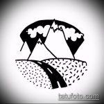 эскиз тату горы №832 - эксклюзивный вариант рисунка, который легко можно использовать для переработки и нанесения как тату горы на руке