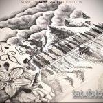 эскиз тату горы №55 - эксклюзивный вариант рисунка, который хорошо можно использовать для преобразования и нанесения как тату гора арарат