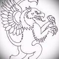 эскиз тату грифон №315 - уникальный вариант рисунка, который хорошо можно использовать для переделки и нанесения как тату грифон на запястье