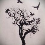 эскиз тату дерево №803 - интересный вариант рисунка, который хорошо можно использовать для переделки и нанесения как тату дерево дуб