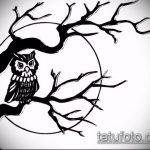 эскиз тату дерево №217 - уникальный вариант рисунка, который успешно можно использовать для переделки и нанесения как тату дерево на боку