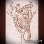 эскиз тату дерево №57 - достойный вариант рисунка, который хорошо можно использовать для переделки и нанесения как тату дерево дуб