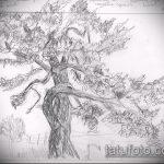 эскиз тату дерево №242 - классный вариант рисунка, который успешно можно использовать для переделки и нанесения как тату дерево листья