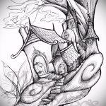 эскиз тату дерево №181 - крутой вариант рисунка, который успешно можно использовать для доработки и нанесения как тату дерево с птицами