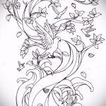 эскиз тату дерево №972 - интересный вариант рисунка, который удачно можно использовать для доработки и нанесения как тату ветка дерева