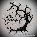 эскиз тату дерево №46 - крутой вариант рисунка, который хорошо можно использовать для преобразования и нанесения как тату деревья лес