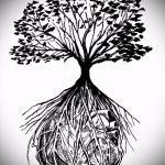 эскиз тату дерево №598 - уникальный вариант рисунка, который успешно можно использовать для переделки и нанесения как дерево сакуры тату