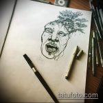 эскиз тату дерево №65 - интересный вариант рисунка, который удачно можно использовать для переработки и нанесения как дерево символ тату