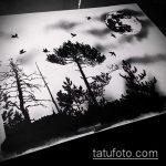 эскиз тату дерево №420 - прикольный вариант рисунка, который легко можно использовать для преобразования и нанесения как тату дерево сосна