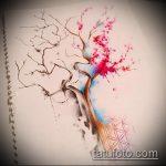 эскиз тату дерево №823 - крутой вариант рисунка, который успешно можно использовать для переделки и нанесения как тату в виде дерева на шее