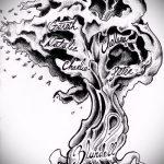 эскиз тату дерево №115 - крутой вариант рисунка, который хорошо можно использовать для доработки и нанесения как тату дерево с корнями