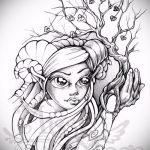 эскиз тату дерево №706 - достойный вариант рисунка, который удачно можно использовать для переработки и нанесения как тату под дерево