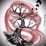 эскиз тату дерево №360 - крутой вариант рисунка, который удачно можно использовать для преобразования и нанесения как тату дерево сосна
