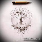 эскиз тату дерево №129 - эксклюзивный вариант рисунка, который успешно можно использовать для переделки и нанесения как тату дерево на руке
