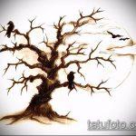 эскиз тату дерево №387 - интересный вариант рисунка, который хорошо можно использовать для переделки и нанесения как тату дерево в круге