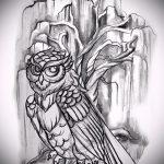 эскиз тату дерево №131 - крутой вариант рисунка, который легко можно использовать для доработки и нанесения как тату дерево дуб