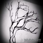 эскиз тату дерево №922 - достойный вариант рисунка, который легко можно использовать для переработки и нанесения как тату дерево в круге