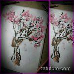 эскиз тату дерево №736 - интересный вариант рисунка, который хорошо можно использовать для переработки и нанесения как тату дерево в треугольнике
