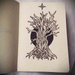 эскиз тату дерево №498 - достойный вариант рисунка, который легко можно использовать для доработки и нанесения как тату ветка дерева
