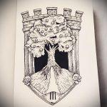 эскиз тату дерево №571 - эксклюзивный вариант рисунка, который удачно можно использовать для переработки и нанесения как тату дерево дуб