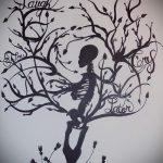 эскиз тату дерево №562 - классный вариант рисунка, который легко можно использовать для преобразования и нанесения как тату дерево елка на руке