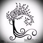 эскиз тату дерево №418 - достойный вариант рисунка, который успешно можно использовать для преобразования и нанесения как тату дерево в кругу